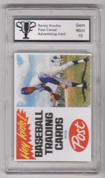Graded Gem Mint 10 Sandy Koufax Post Cereal Advertising Promo Card