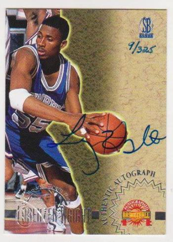 Signed Rookie - Lorenzen Wright 1996 Score Board Autographed Collection Insert Card #9/325 Produced!