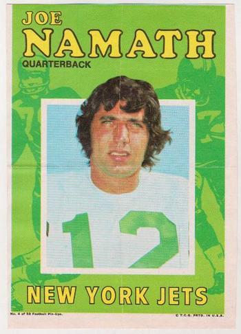 1971 Topps Joe Namath Pin Ups #4 5x7 Insert