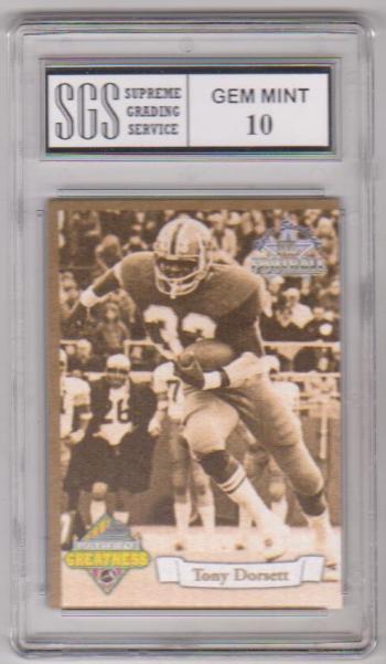 Graded Gem Mint 10 - Tony Dorsett 1994 Ted Williams Path To Greatness #PG1 Insert Card