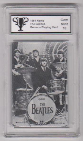 Graded Gem Mint 10 - 1964 The Beatles Full Band Black And White Playing Card