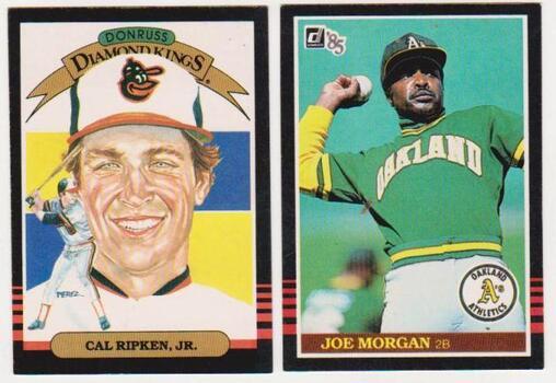 1985 Donruss Cal Ripken, Jr. #14 + Joe Morgan #584 Card Pair - HOF'ers