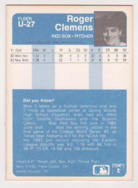 1984 Fleer Update Roger Clemens U 27 Rookie Card Property