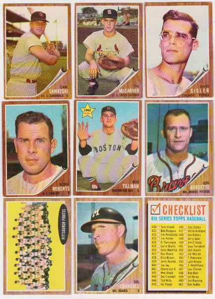 9 Different 1962 Topps Baseball Cards Vintage Lot