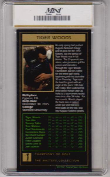 Rookie Graded Mint 9 Tiger Woods 1997 Grand Slam Ventures