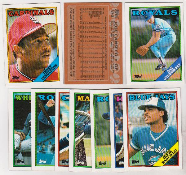 Error Lot 10 Different 1988 Topps Baseball Wrong Back
