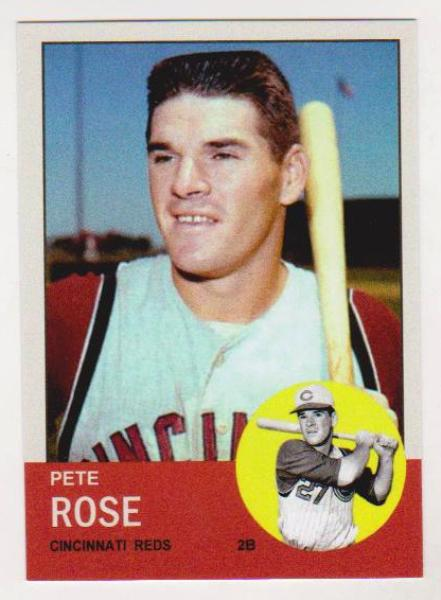 Pete Rose 1963 Topps Style Aceo Rookie Reprint Property Room