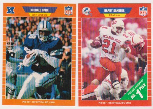 Barry Sanders Michael Irvin 1989 Pro Set Rookie Cards Hofers