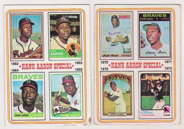 2 Different 1974 Topps Hank Aaron Cards 4 6 Pair Hof