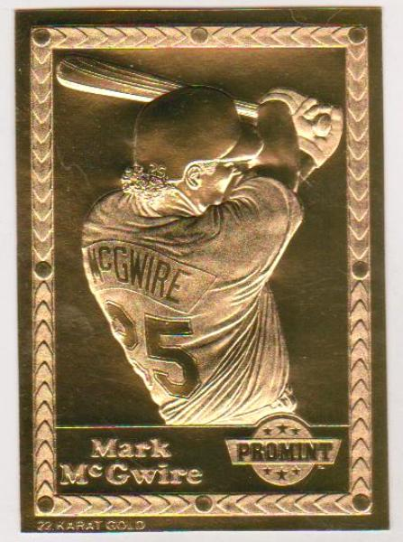 22 Kt Gold Mark Mcgwire 1995 Pro Mint Gold Baseball Card Rare