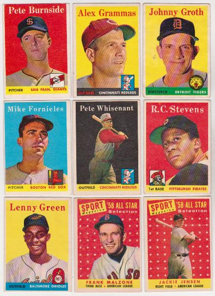 9 Different 1958 Topps Baseball Cards Vintage Collection