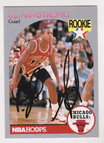 Signed Rookie Bj Armstrong 1990 91 Hoops Autographed Rookie Card