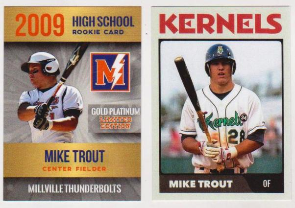 2 Different Mike Trout Minor Custom Aceo High Schoolminor League