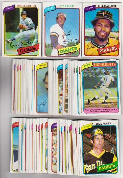 75 Different 1980 Topps Baseball Cards Vida Blue Bruce Sutter