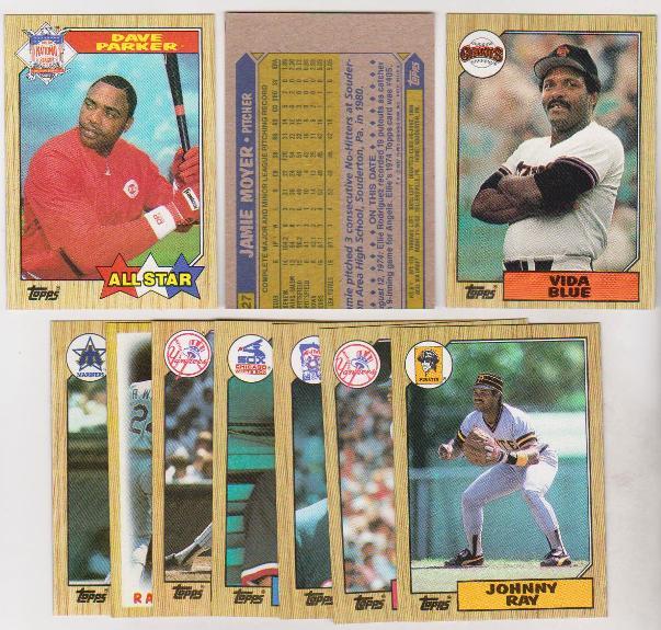 Error Lot 10 Different 1987 Topps Baseball Wrong Back