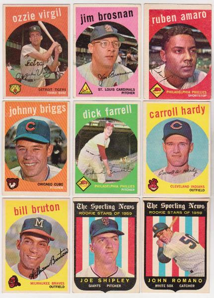 9 Different 1959 Topps Baseball Cards Vintage Collection