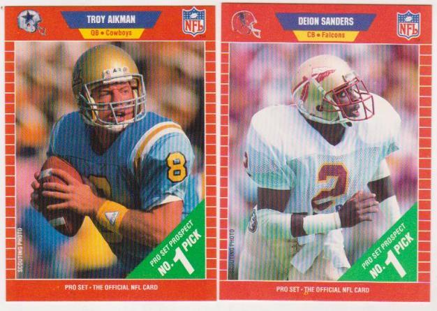Troy Aikman Deion Sanders 1989 Pro Set Rookie Cards Hofers