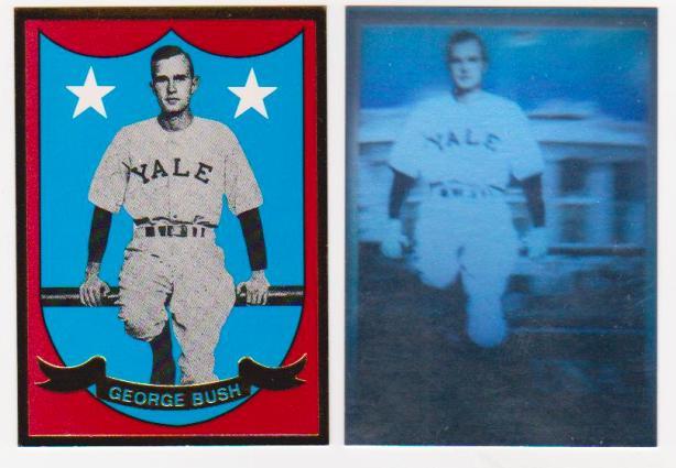George Bush Sr Yale University Baseball Gold Foil Hologram Pair