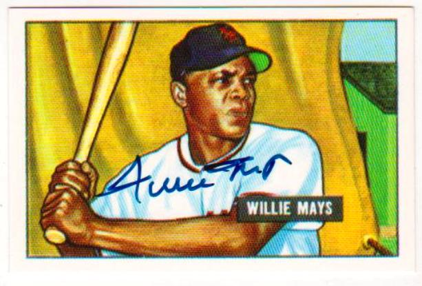 Signed Willie Mays Baseball Card With Coa Autographed 1951