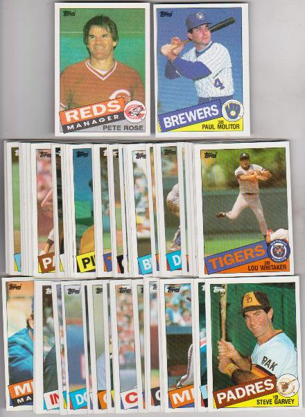 100 Different 1985 Topps Baseball Cards Pete Rose More