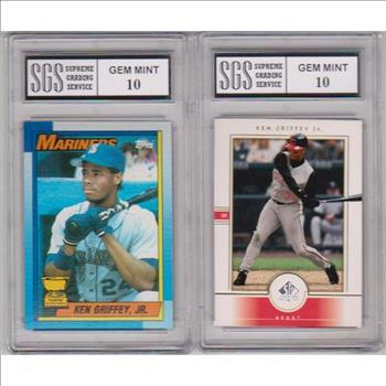 320293cec6 2-different-graded-gem-mint-10-ken-griffey-jr-cards-1990-topps -2000-sp-authentic