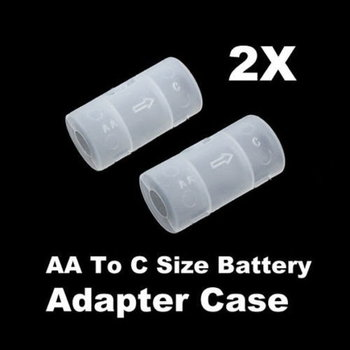 (2) AA to C Size Battery Converter Adapter Case