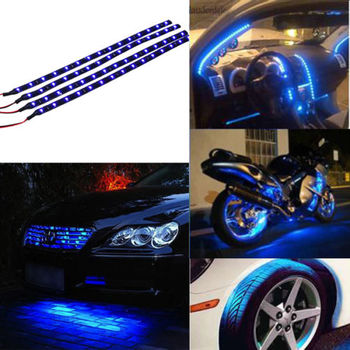 4pcs 15 LED Waterproof Vehicle Strip Light (Blue)