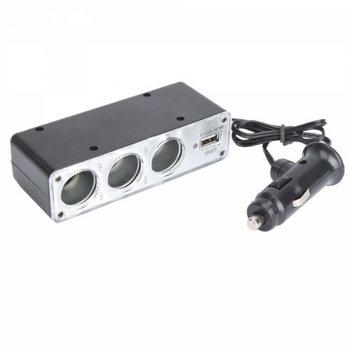 Car Cigarette Lighter Splitter with USB & Triple Sockets