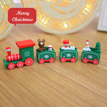 Hand-Painted Wooden Christmas Train