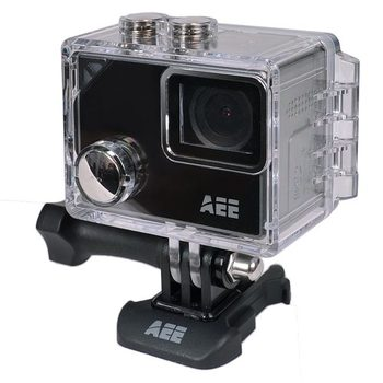 "Silver 4K Action Camera with 1.8"" Touchscreen Display"