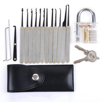 Transparent Practice Padlock w/ 12pcs Lock Pick Set