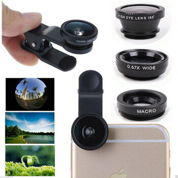 Universal 3in1 Fisheye Wide Macro Lens Kit