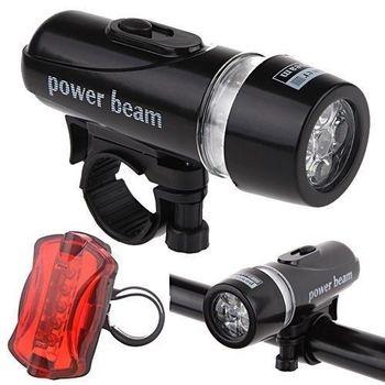 Waterproof 5 LED Bicycle Bike Headlight + 5 LED Taillight