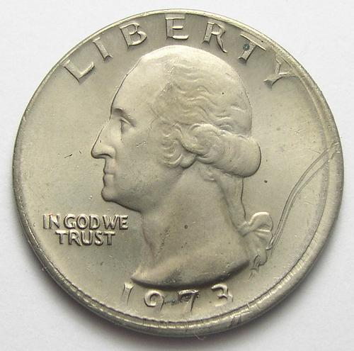 Rare Mint Error - 1973-P Broadstruck Washington Quarter - No Reeded