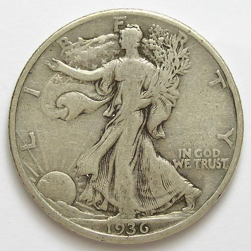 1936 Silver Walking Liberty Half Dollar Property Room