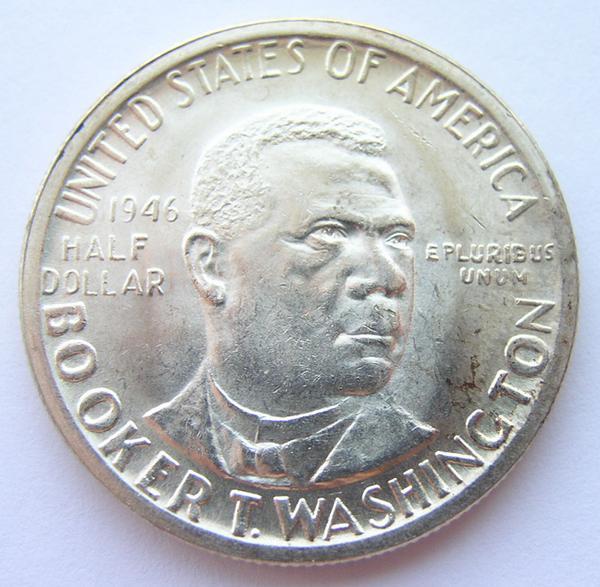 1946 Bu Silver Booker T Washington Commemorative Half Dollar Brilliant Uncirculated Property Room