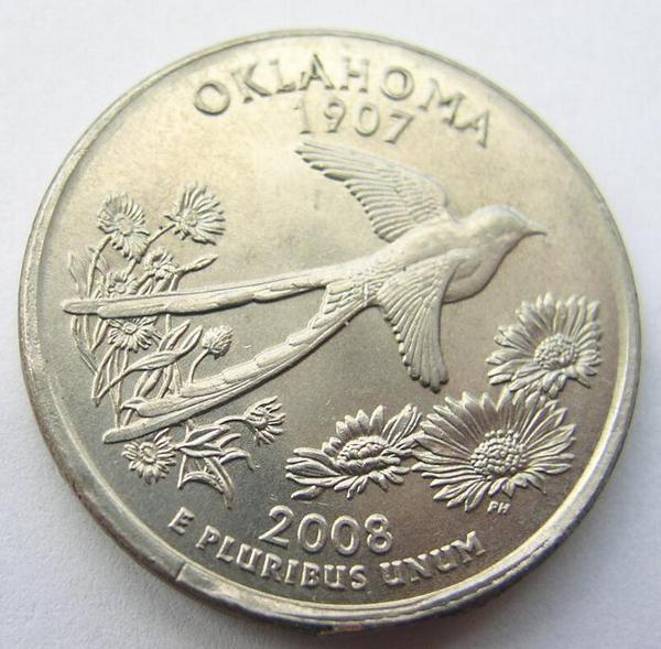 Mint Error Broadstruck 2008 P Oklahoma State Quarter