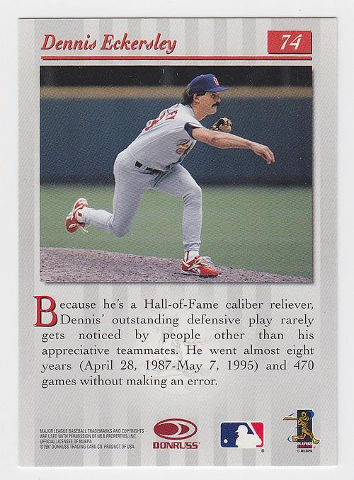 1997 Donruss Studio 97 74 Dennis Eckersley Baseball Card