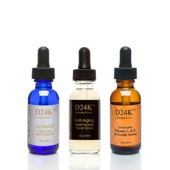 D'OR 24K Luxury Skincare Complete D24K Serum Collection - Ultimate Stem Cell Neck Serum / Corrective Vitamin C,B,E & Ferulic Serum / Anti Aging Multi-Peptide Facial Serum RETAIL $387