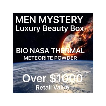 MEN MYSTERY LUXURY BEAUTY BOX , AUCTION BIO NASA THERMAL - METEORITE POWDER START 85% TO 90% LESS THAN RETAIL RETAIL VALUE: OVER $1000