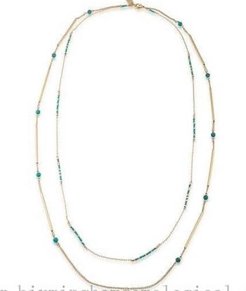Lauren Ralph Lauren & Dream Weaver Two Row Rope Necklace Gold tone,Turquoise  Retail $78