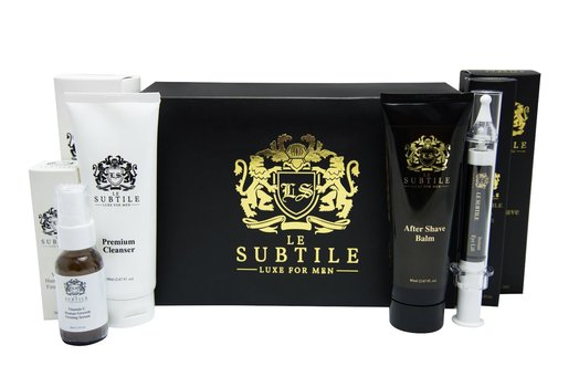 LE SUBTILE Luxe for Men Non-Surgical Lifting Syringe Instant Eye Lift ,After Shave Moisturizer ,Facial Cleanser & Vitamin C ,Human Growth Firming Serum Box RETAIL VALUE OVER $640