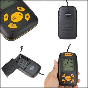 Venterior Portable Fish Finder, Water Depth Sonar Sensor Transducer LCD Display