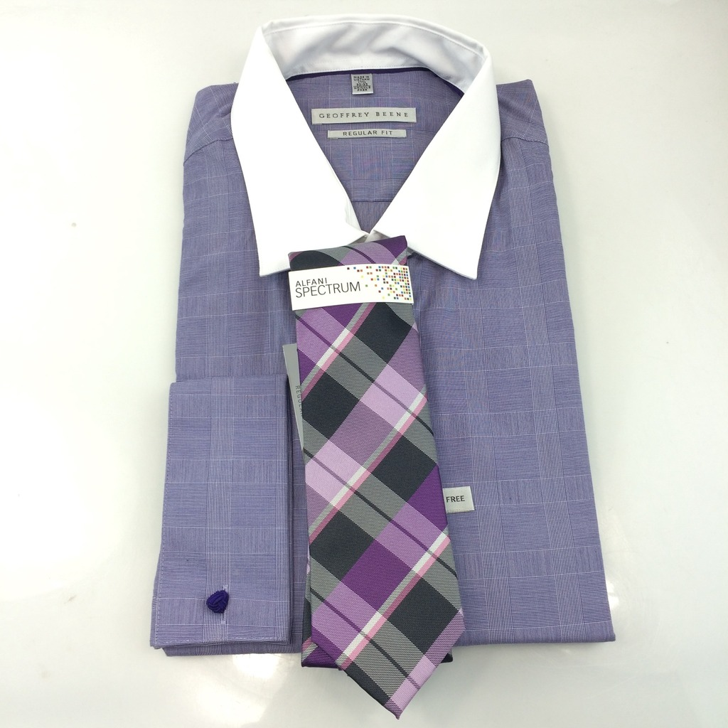 Geoffrey Beene Dress Shirt Pattern Squares L Dark Plum 175 3233