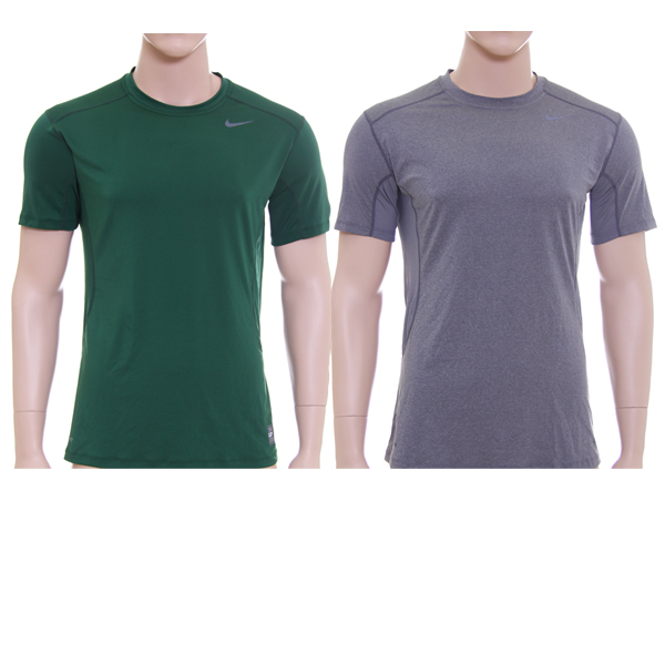 cd3985bb Nike 'Pro Combat' Dri-FIT Fitted T-Shirt, Grey/Green, Size L- 2 Pieces