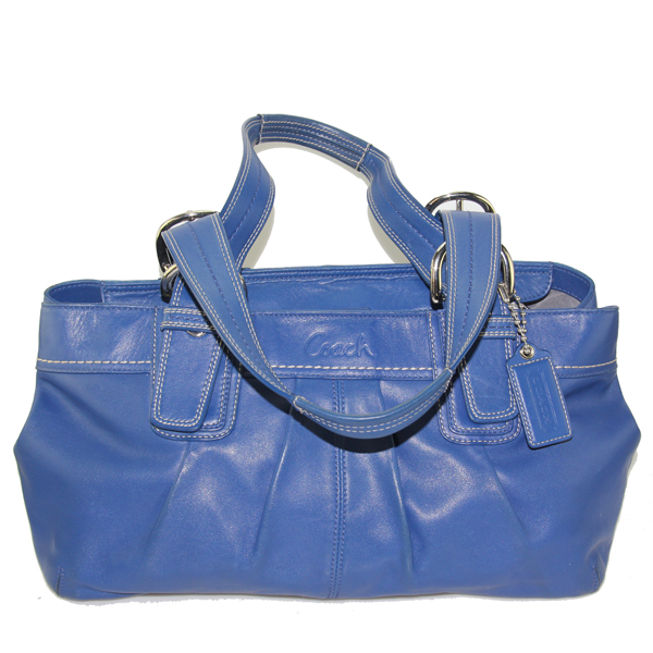 a3ee897dcb Image 1 of 4. Coach Blue Leather Soho Pleated Shopper Tote ...