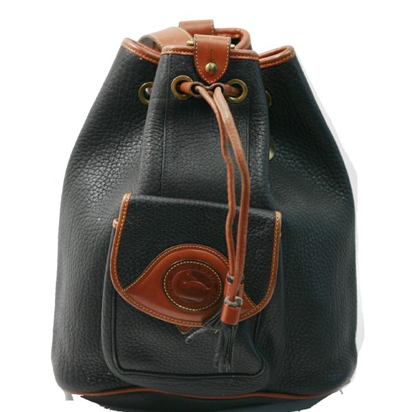 Vintage Dooney \u0026 Bourke Black Leather Drawstring Bucket