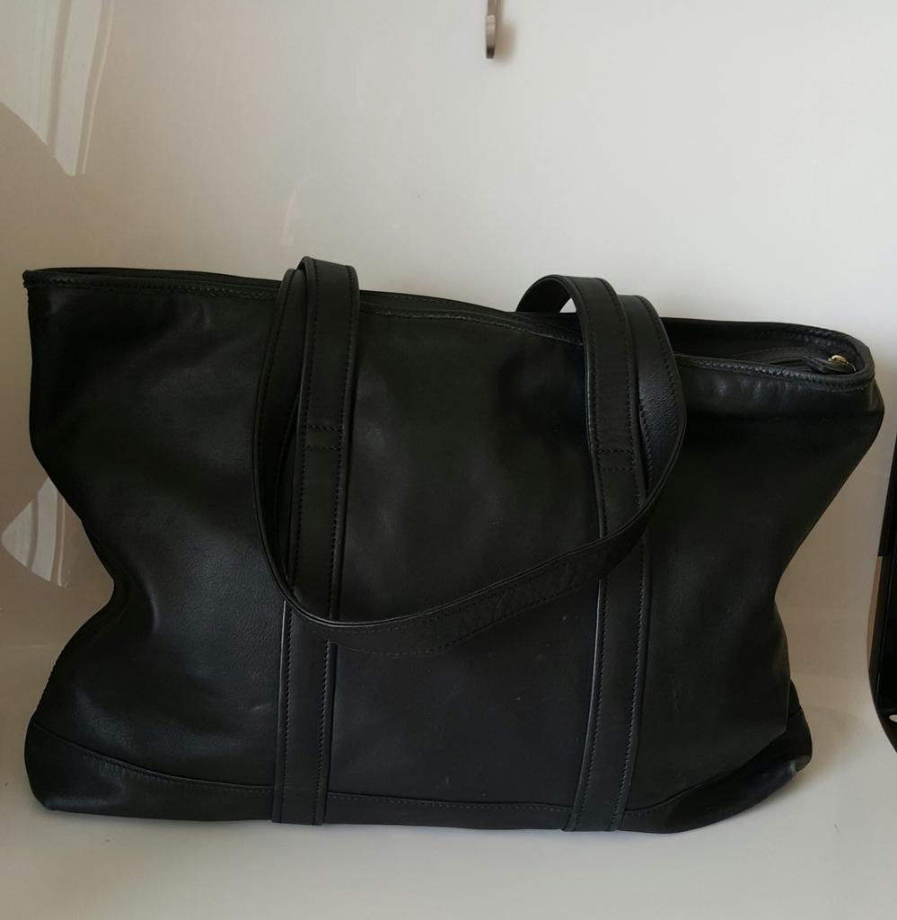 2cc531ae00 Vintage Coach Black Leather Tote Shopper Travel Bag - 9400 ...