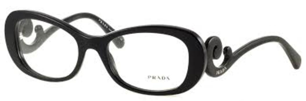 f6d3b07b0598e Image 1 of 2. Prada VPR 09P 1AB-1O1 Black Eyeglasses RX Swirl 52mm - 10