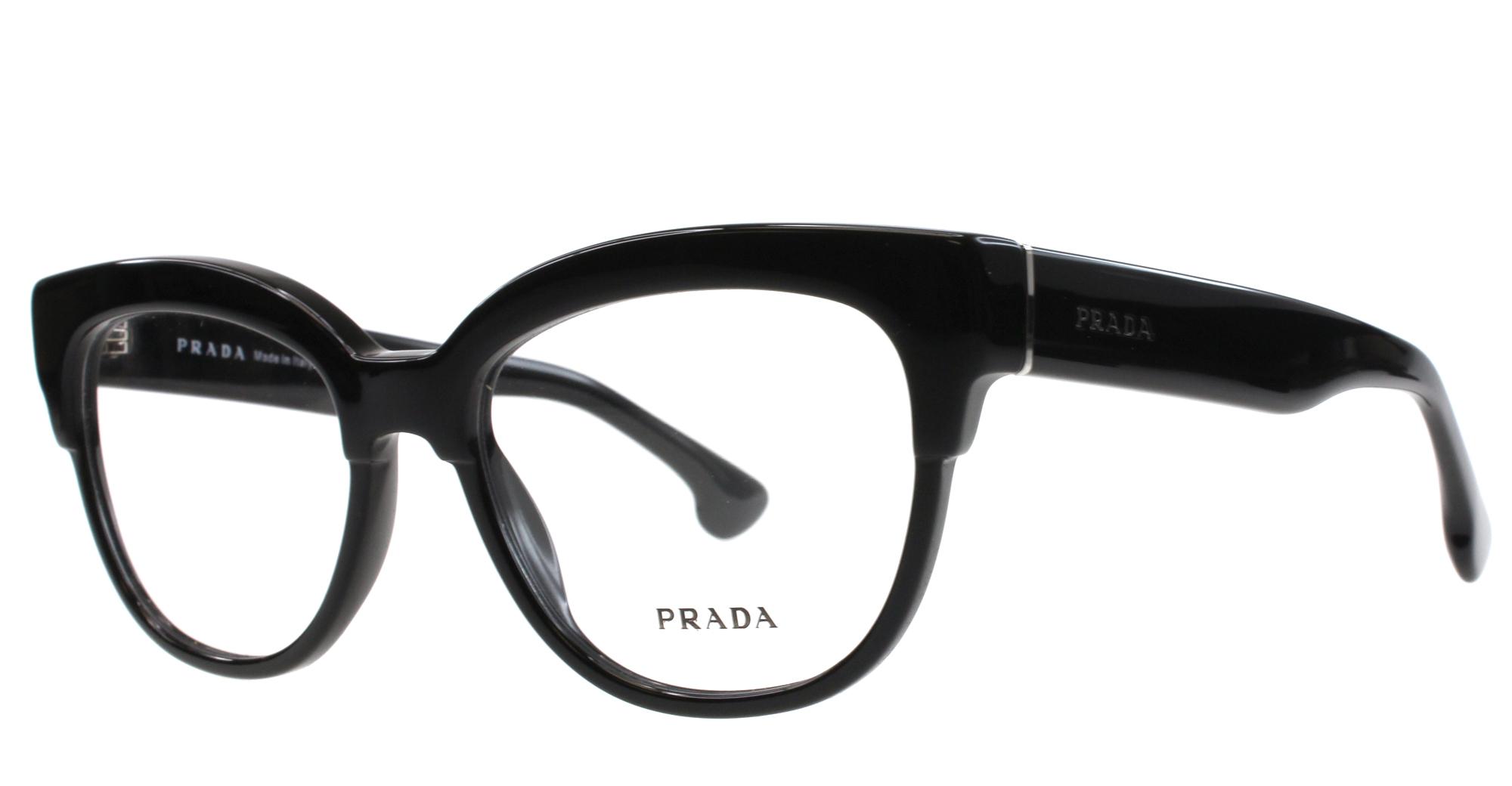 f25f8513e2 Image 1 of 2. Prada VPR 21Q 1AB-1O1 Black Eyeglasses Frames 51mm ...